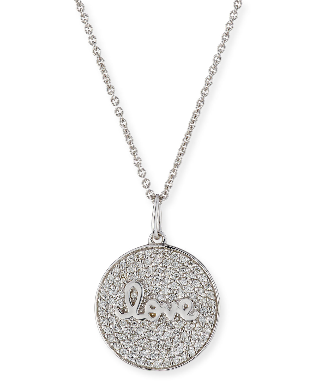 Sydney Evan Accessories 14K WHITE GOLD LOVE SCRIPT DIAMOND PAVE MEDALLION NECKLACE