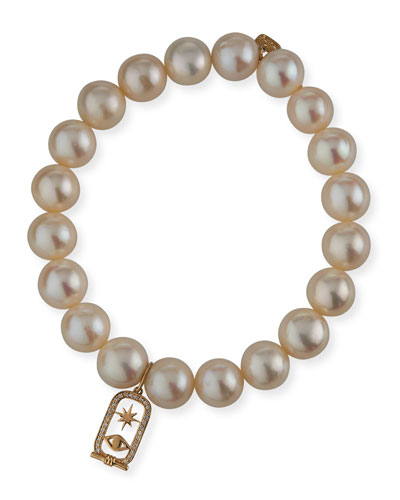14k Diamond Cartouche & Pearl Bracelet