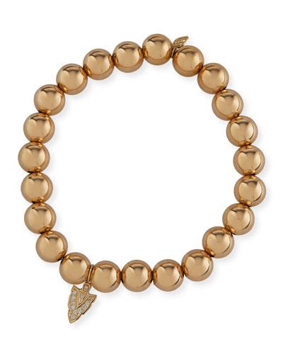 14k Gold Bead Bracelet w/ Diamond Arrow