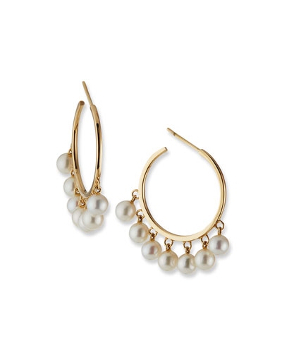 14k Pearl Medium Hoop Earrings