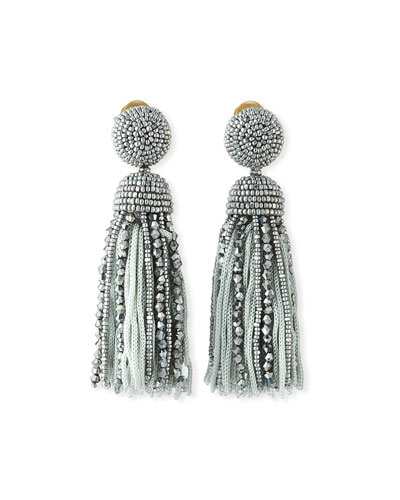 Short Bead & Silk Tassel Clip-On Earrings