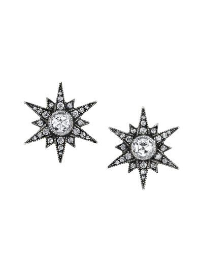 Rose-Cut Diamond Starburst Stud Earrings