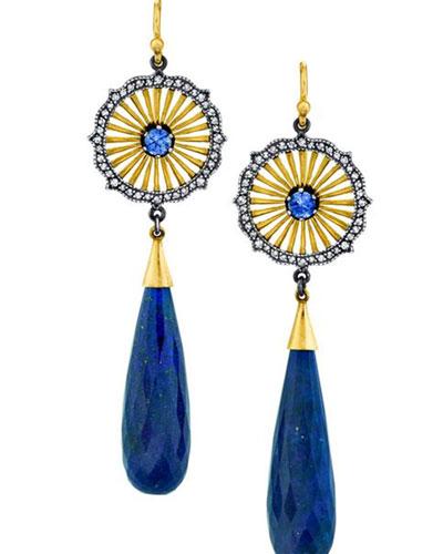 Lapis, Sapphire & Diamond Earrings