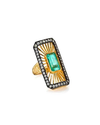 Deco Emerald-Center Ring w/ Diamonds