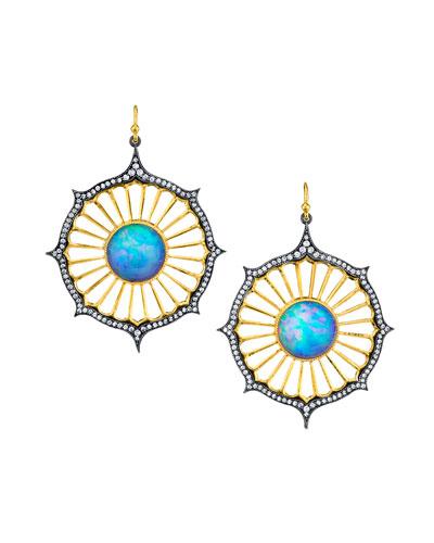 Opal-Deco Diamond Drop Earrings
