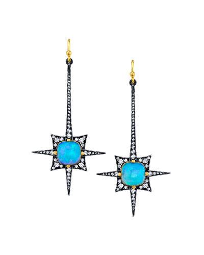 Long Opal Diamond Spike Earrings