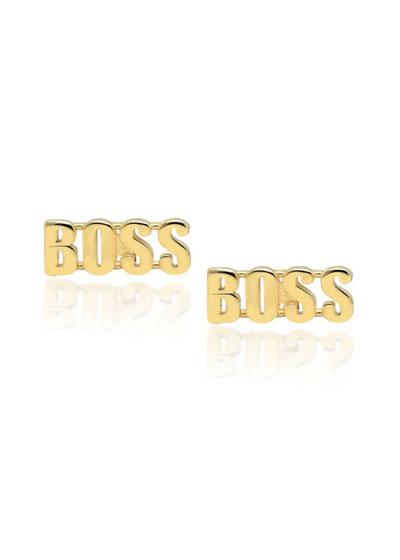 14k Gold BOSS Stud Earrings