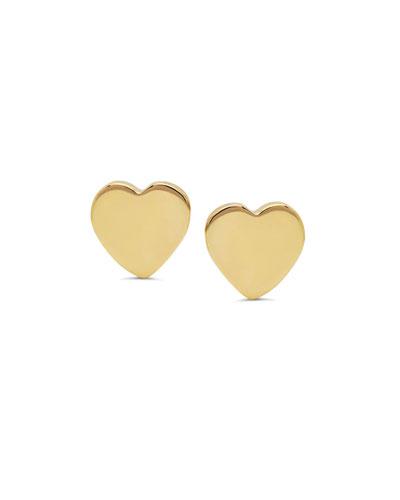 14k Gold Heart Stud Earrings
