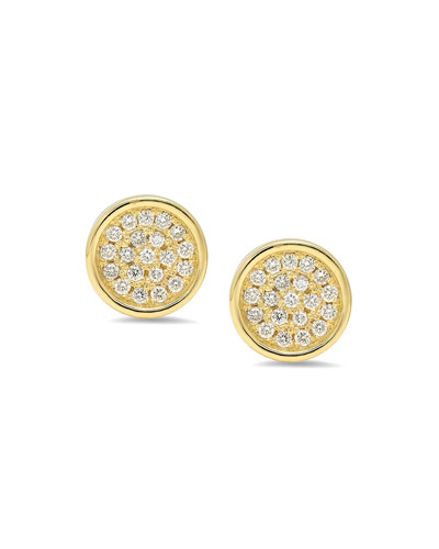 18k Diamond Pave Circle Stud Earrings