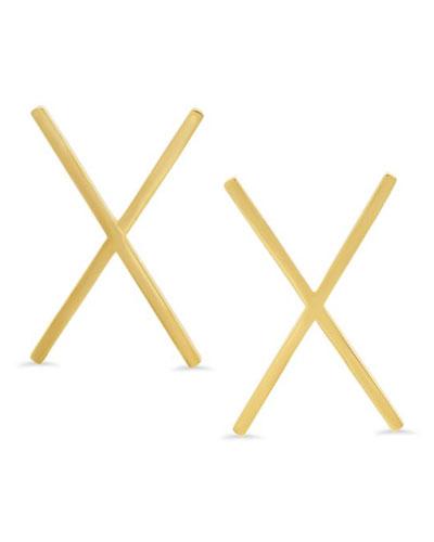 14k Yellow Gold X-Stud Earrings