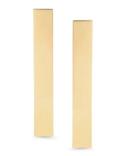 14k Gold Flat Bar Stud Earrings