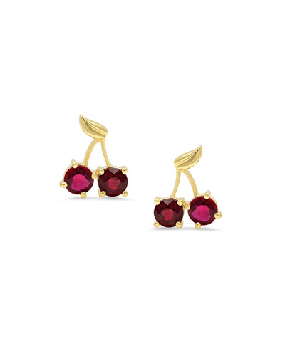 18k Yellow Gold Ruby Cherry Earrings