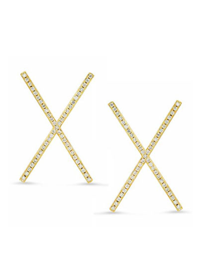 18k Yellow Gold Diamond Pave X-Stud Earrings