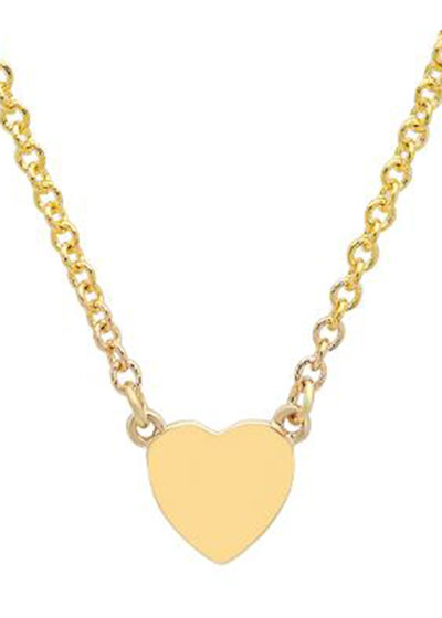 14k Gold Heart-Charm Choker Necklace