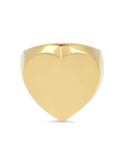 14k Gold Flat Heart Ring, Size 7