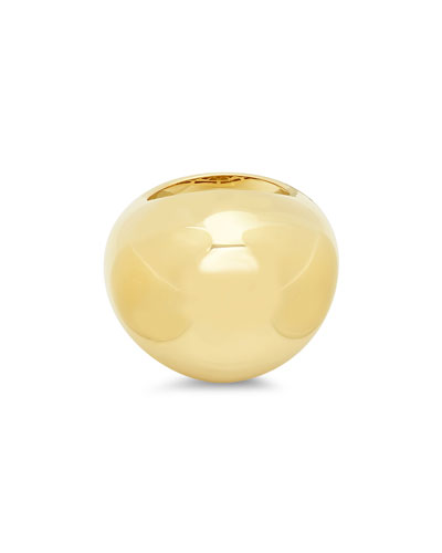 14k Yellow Gold Bauble-Shaped Dome Ring, Size 7