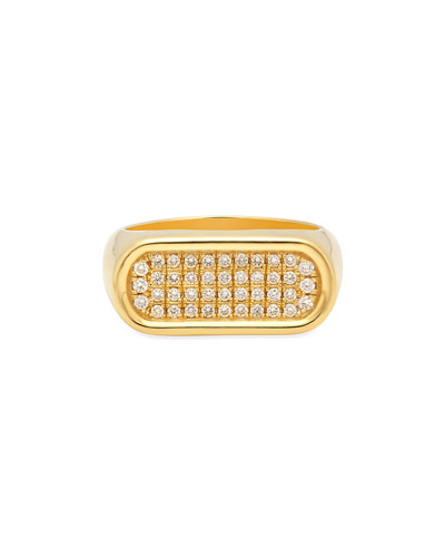 18k Gold 4-Row Diamond Stackable Ring, Size 7