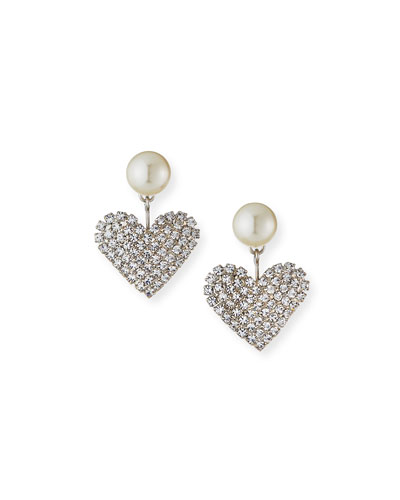 Valentine Pearly & Crystal Heart Earrings