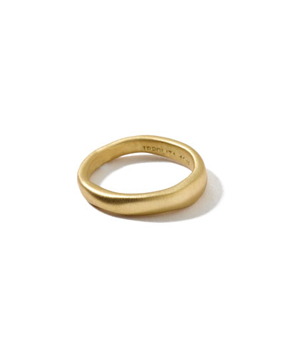 18k Gold Wide Squiggle Band Ring, Size 7