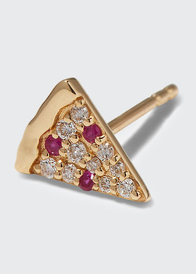 14k Diamond & Ruby Pizza Slice Earring, Single