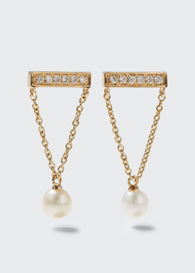 14k Diamond Bar & Pearl Earrings