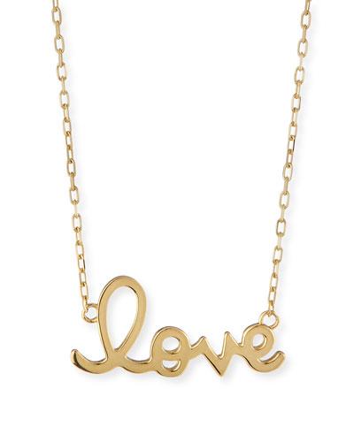14K Yellow Gold Pure Love Script Necklace