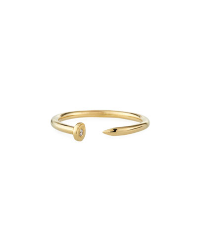 14k Yellow Gold Nail Ring w/ Diamond, Size 6.5