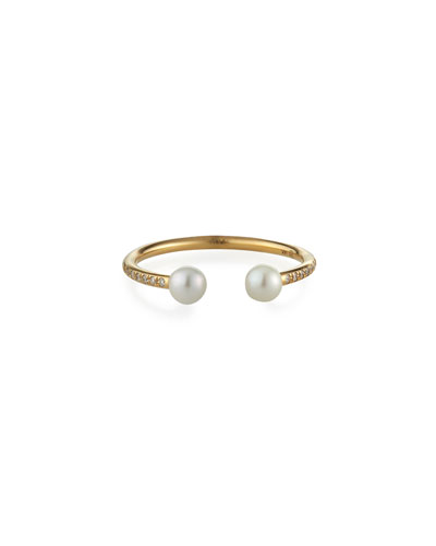 14k Diamond Pave 2-Pearl Wire Ring, Size 6.5