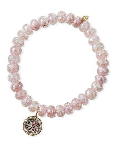 14k Pink Grapolite & Diamond Kaleidoscope Disc Bracelet
