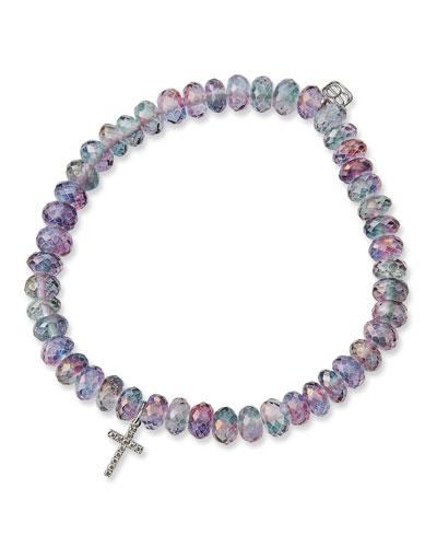 14k Diamond Cross & Rainbow Quartz Bracelet