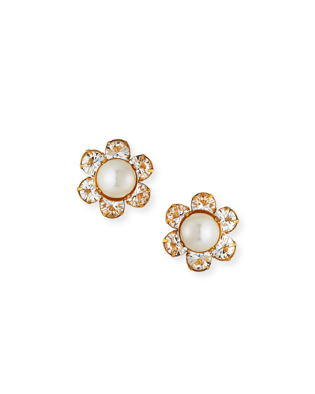 Jennifer Behr Accessories CLARA PEARLY & CRYSTAL FLOWER EARRINGS