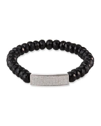 14k White Gold Diamond Bar & Spinel Bracelet