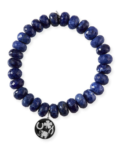 14k Luck Tableau Medallion & Sodalite Bracelet
