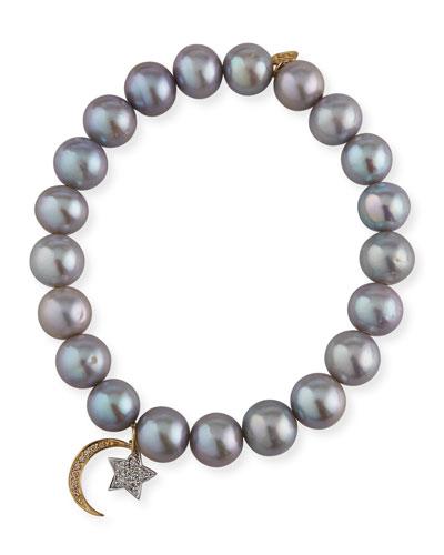 14k Diamond Celestial & Pearl Bracelet