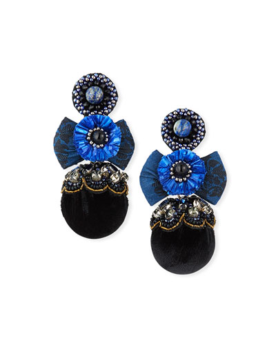 Nailah Clip-On Bow Pom Earrings