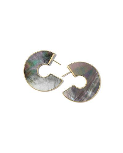18K Polished Rock Candy Cutout Donut Slice Earrings in Onyx