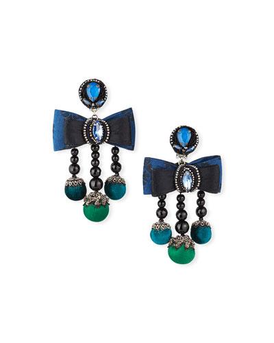 Lila 3-Dangle Bow Clip Earrings