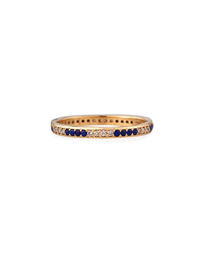 18k Rose Gold Lapis & Champagne Diamond Stack Ring, Size 6.5
