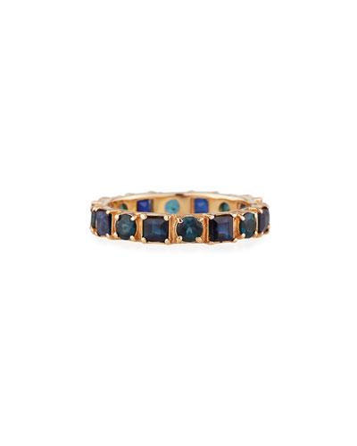 18k Rose Gold Blue Sapphire & Tourmaline Ring, Size 6.5