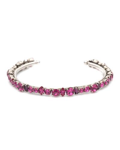 Cielo Crystal Cuff Bracelet, Fuchsia