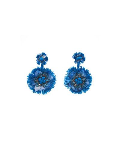 Raffia Beaded Fan Clip-On Earrings