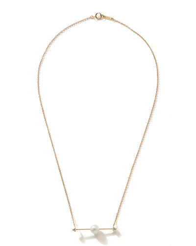 14k Floating Pearl-Bar Necklace