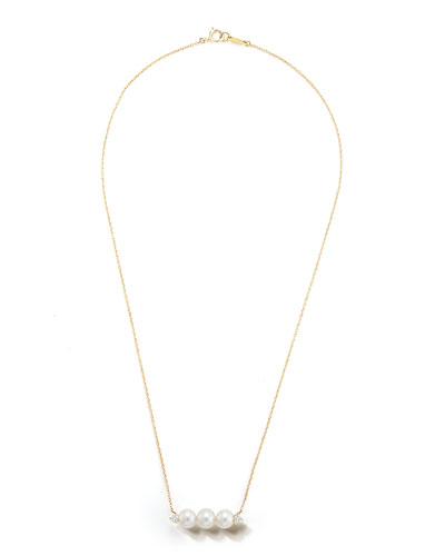 14k Gold 3-Pearl & Diamond Necklace