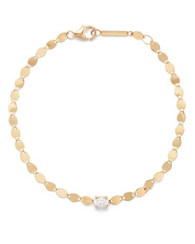14k Solo Oval Bracelet w/ Diamonds
