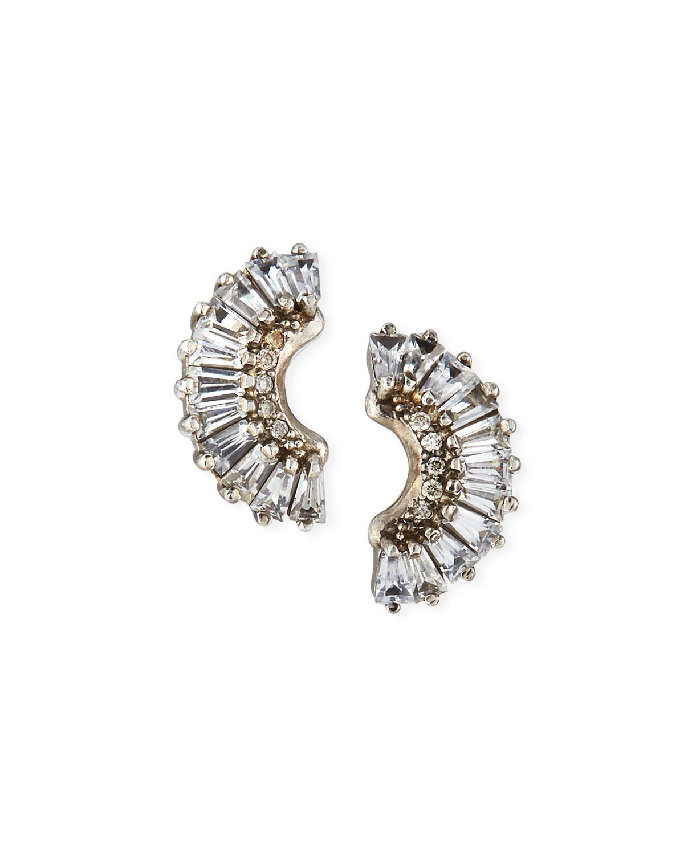 Armenta Earrings OLD WORLD HALF-MOON SAPPHIRE EARRINGS W/ DIAMONDS