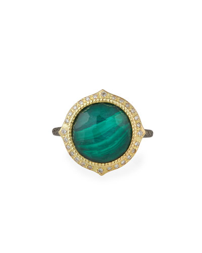 Old World Malachite/Topaz Doublet Ring w/ 18k Gold & Diamonds, Size 6.5