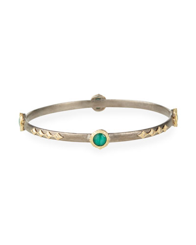 Old World Malachite/Topaz Doublet Bracelet w/ 18k Gold & Diamonds