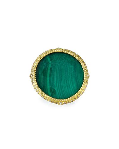 Old World Malachite/Sky Blue Topaz Doublet Ring, Size 6.5-7