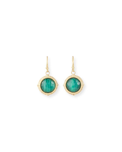Old World Malachite/Topaz Doublet Earrings w/ 18k Gold & Diamonds