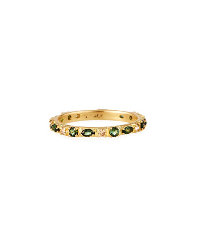 Old World 18k Sapphire, Tourmaline & Diamond Stack Ring, Size 6.5